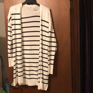 Back and White Striped Cardigan